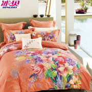 The ice shell textile cotton four piece 3D thickened sanding stereo active printing bedding cotton 4 Set Wedding