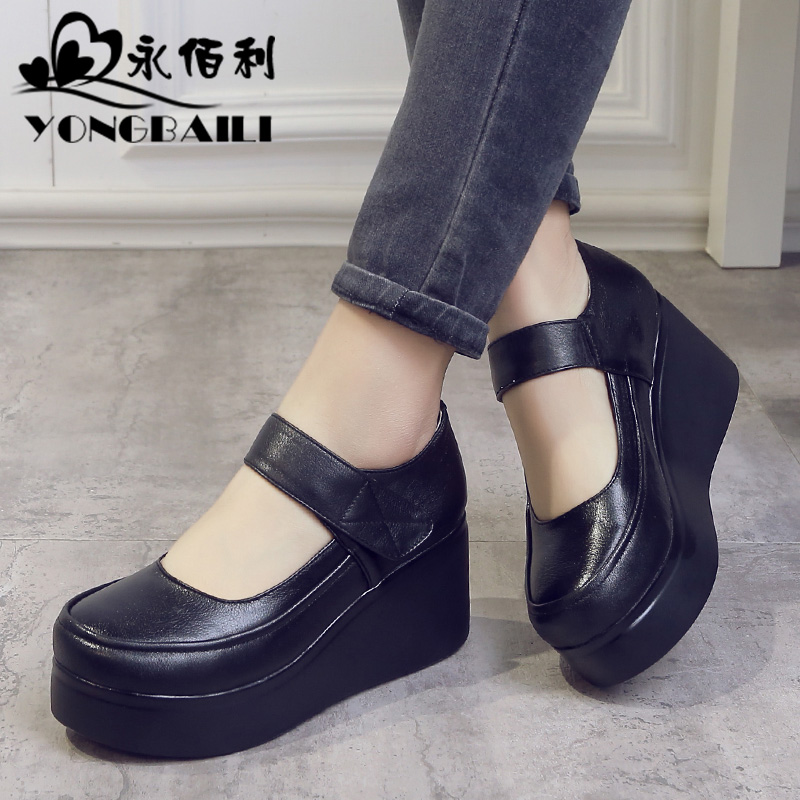 Yongbaili autumn 2019 new fashion muffin leather shoes high heel thick sole recreational Vintage cowhide women's single shoes