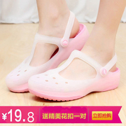 2017 new female Crocs sandals summer color flat jelly shoes sandals slippers Mary Jane female slip