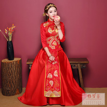 chinese wedding dress dress bride wedding gown married dragon and Phoenix gown Costume show Kimono toast 2018 New Clothes