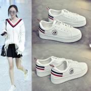 A new spring increased thick bottom white shoe female all-match casual white shoes shoes sports shoes summer students.