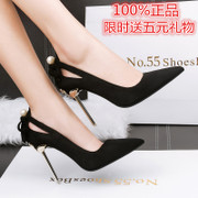 2017 spring and autumn new sexy high heels with a club fine black suede shoes 10cm hollow