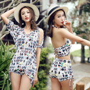 Bikinis female three piece small chest thin blouse gather sexy Korean cover belly split spa swimming suit