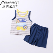 The summer of 1 year old male baby sleeveless vest suit 2 children two piece of cotton baby child children clothes tide