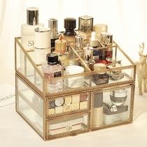 复古古铜桌面收纳盒 欧式梳妆台整理盒 抽屉式透明玻璃化妆盒