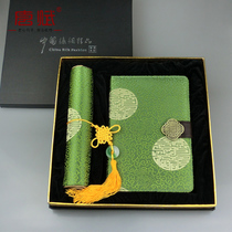 Brocade Notebook Silk Mouse Cushion Set Traditional Elements Gift with Chinese Style