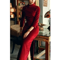 Cropped cotton padded flocking Tang language pure color wine red cheongsam