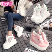 The increase in net surface's Korean version of the new spring and summer 2017 white shoe soled casual high-heeled shoes Muffin