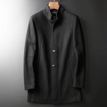 低调商务 高贵进口羊毛加厚外套 秋冬中长款修身立领毛呢大衣 男