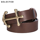 SELECTED think Ryder leather vintage old anchor lead in men's leather belts A|41619F001