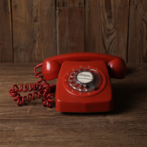 vintage80 old phone red dial photography props Retro ornaments shooting telephone old-fashioned objects