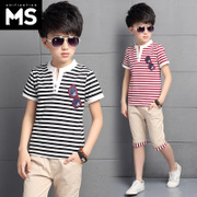 Kids Boys summer suit 2017 New 7 short sleeved summer children 9 children 10 men's 12 year old boy 15