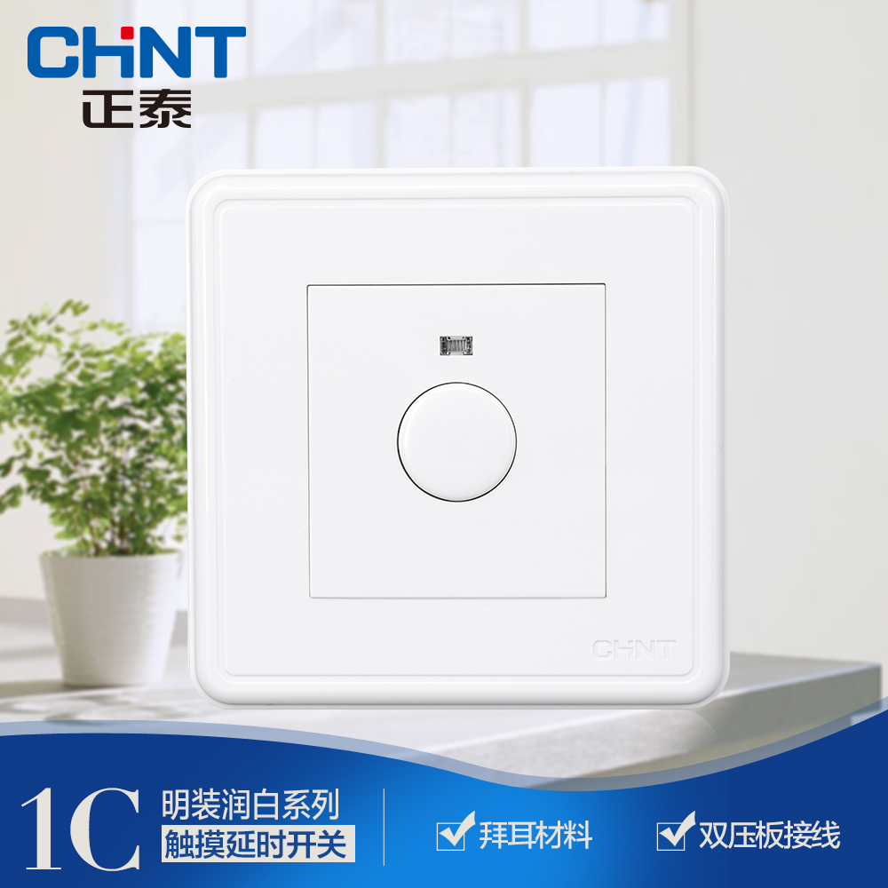 CHINT switch socket NEW1C wall mounted touch delay switch three wire 300W with fire line
