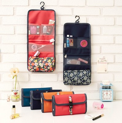 [The goods stop production and no stock][The goods stop production and no stock]Large-capacity floral foldable hanging wash bag travel travel storage bag unfolded men and women cosmetic bag