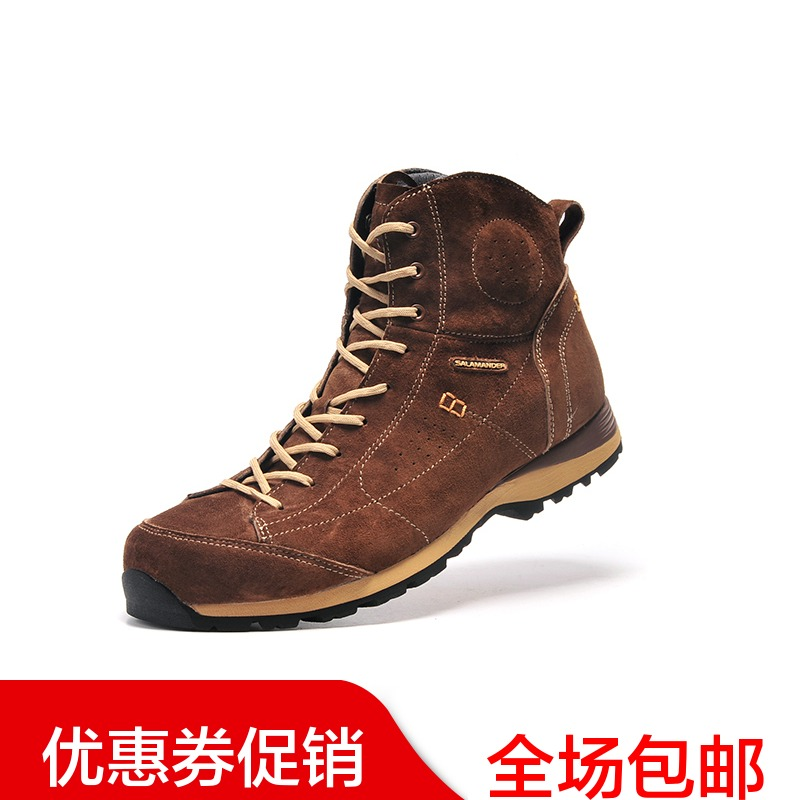 [The goods stop production and no stock]Salaman casual outdoor boots wear Martin boots female British wind slip tooling men's boots leather high help men and women shoes