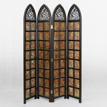 Factory Direct selling flowers and birds screen four screen painted glass screen hollowed screen Church style