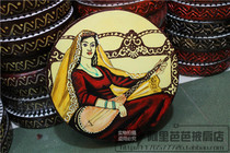 Xinjiang national Musical instrument Uighur tambourine High-grade solid wood oil painting tambourine Dance tambourine 15 cm special Offer