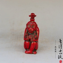 Do old resin imitation red coral zodiac monkey snuff bottle red bottle antique antique pieces miscellaneous collection