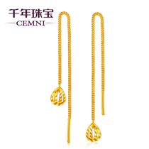 CEMNI Millennium jewelry gold earrings gold 999 hollow drop earrings long tassel earrings earrings