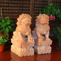Stone carving stone lions a pair of Watchmen town house ornaments Bluestone cemetery home garden decoration natural marble unicorn