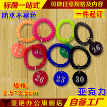 All kinds of acrylic spicy hot number card clip key bracelet Hand Ring restaurant digital card number plate called Plate No.