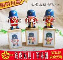 567toys 80 retro classic Iron wind iron toy drum soldiers robot army orchestra