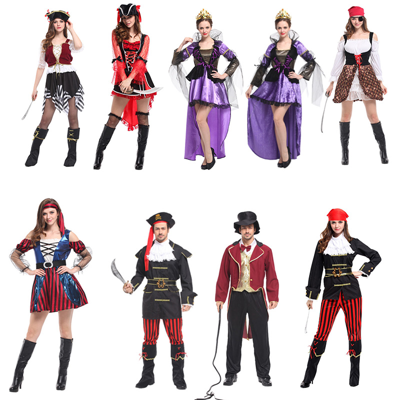 Cosplay pirate costume costume masquerade party men and women adult Caribbean Pirate Captain Jack dress
