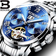 BINGER men's watch authentic accusative automatic mechanical watches Mens hollow luminous waterproof flywheel couples
