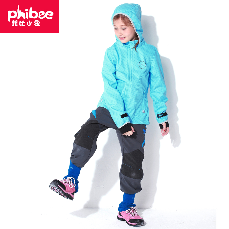 Phibee outdoor spring fleece soft shell clothing girls thin section warm and windproof soft shell outdoor clothing