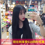 Net red wig, female air, Liu Haichang straight hair, black students long hair, waist full head, Korean fashion temperament face repair