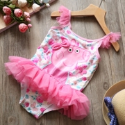Pink ~2017 spring and summer new girls cute cartoon lace swimsuit children's three-dimensional butterfly one-piece swimsuit