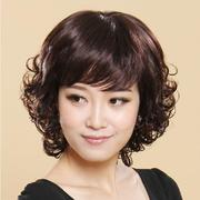 Female hair wig fashion wig wig for her mother in the long section of natural ventilation of middle-aged human hair short hair