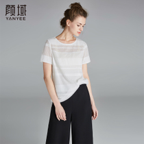 Genville Silk Hollow Loose straight round T-shirt