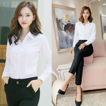 Women's long sleeves, long sleeves, professional suits, V collar shirts, cotton, slim, gowns, working clothes, Korean version.