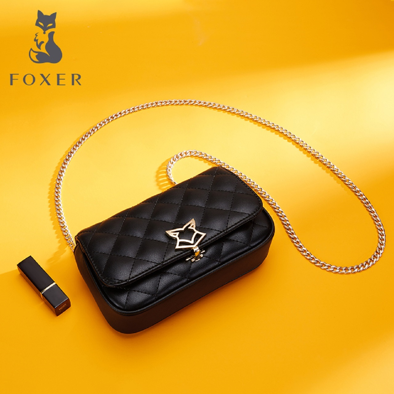Golden Fox female bag small bag 2018 new female crossbody bag shoulder rhombic chain bag mini small wind leather