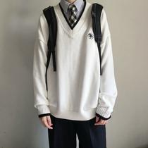 (Март волосы)Anzmo продажа Юань Ци оригинал без цветов в многоцветной вышивки пуловер V-образным вырезом школьная форма волос