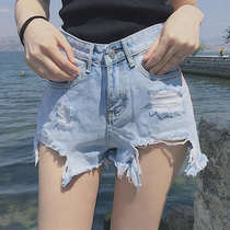 Summer new fried burr high waist corridor denim shorts female irregular splicing was thin shorts