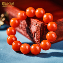 Collection of natural Yunnan Baoshan south red agate hand string 18 seed Buddha beads bracelet persimmon red men and women