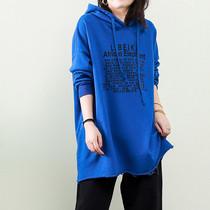 棉麻素衣高端大码女装新品底部自然卷边胸前黑色字母带帽加厚T恤