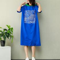 棉麻素衣大码高端女装新款胸前字母拼色带帽宽松T恤棉大连衣裙