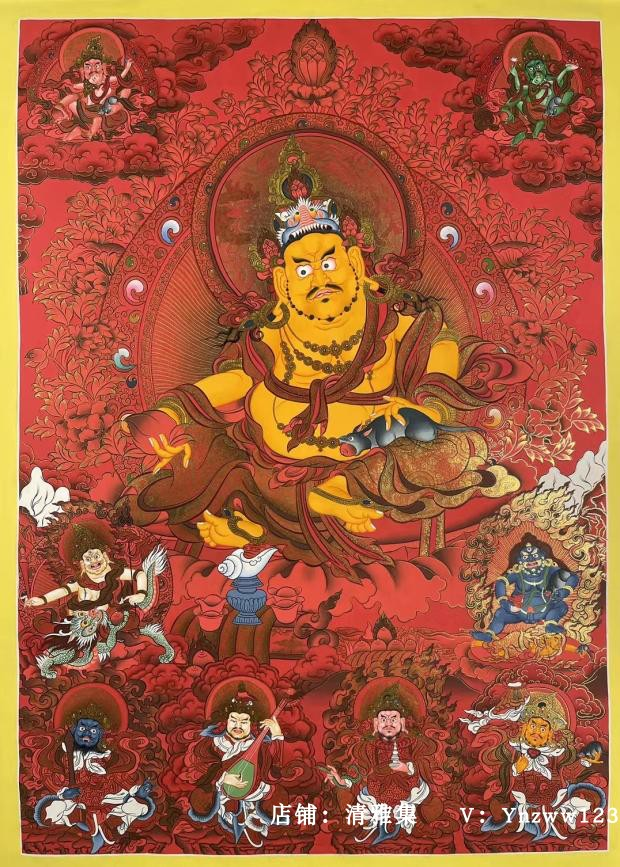 Collection-grade Zhu sand pure gold and yellow treasure god five surnames treasure god Nepal pure hand-painted Tangka hanging painting four kings