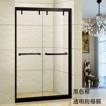 Custom shower room tempered glass partition 304 stainless steel bathroom mobile door guard bath door