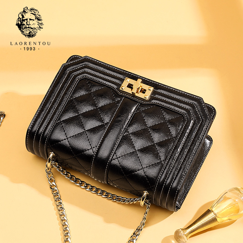 Old Head Single Shoulder Bag Girl 2019 New Fashion Leisure Small Fragrance Linger Chain Bag Genuine Leather Slant Bag