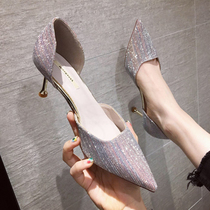 French girl high heels with 2020 new tip wedding shoes Joker silver hollow single shoes Fairy Wind