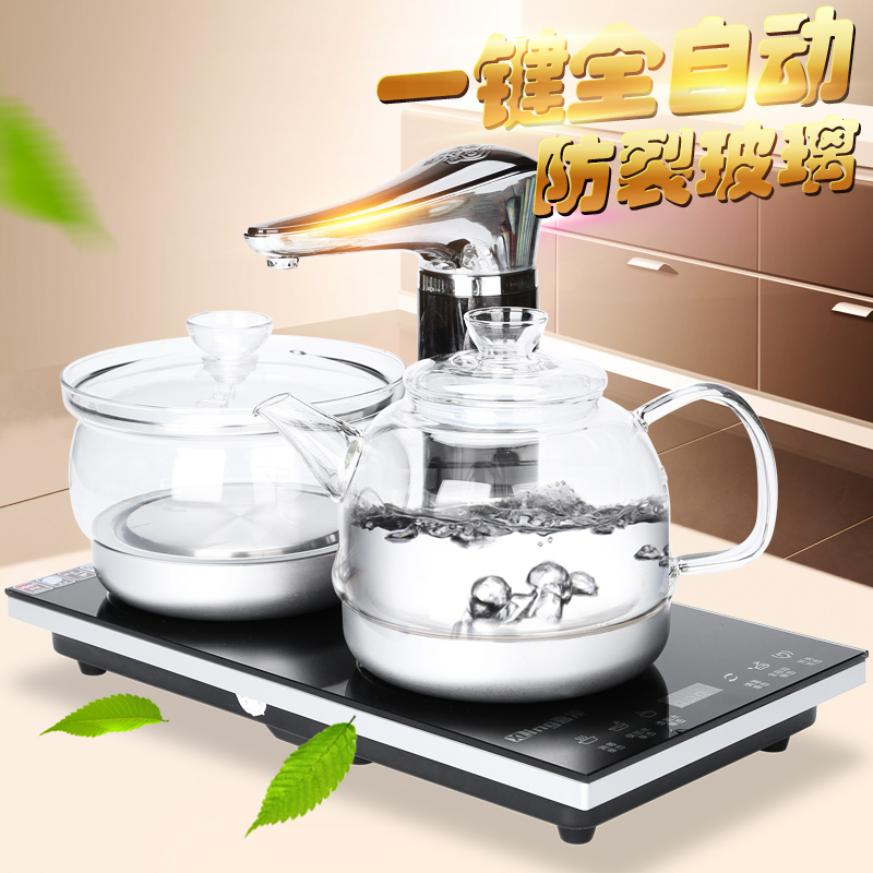 Fully automatic glass teapot large boiling kettle electric kettle induction cooker automatic water stainless steel household heat resistance