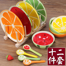 12-piece set. Fruit Ceramics tableware Set watermelon rice bowl spoon cute glaze under the color Japanese Bowl