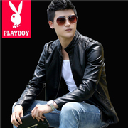 Playboy 2017 spring new leather suit men's coat jacket