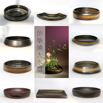 Imitation wood burning Chinese flower art large water plate small source of Chinese flower arrangement Ceramic Zen Sword Shanhua potted Flower Road
