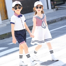 School Uniform suit for primary school students custom made children's class uniform summer short sleeve kindergarten college style girls' games