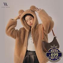 #耳朵款羊剪绒皮草 дизайн уха с капюшоном Миан шерсть шуба Y20F32344